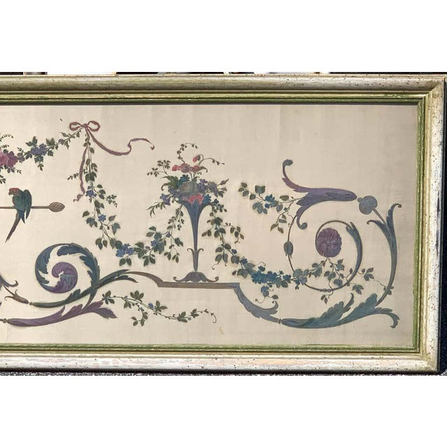 Early 20th Century Robert Adam Style Painted Interior Architectural Panel, Framed For Sale - Image 5 of 10