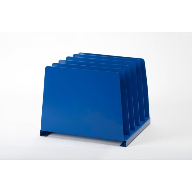 1970s 1970s Desktop File Holder, 5 Slot, Refinished in Blue For Sale - Image 5 of 7