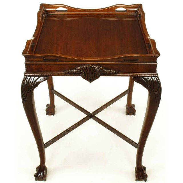 1940s Pair of Mahogany Ball and Claw Footed George II Style End Tables For Sale - Image 5 of 11
