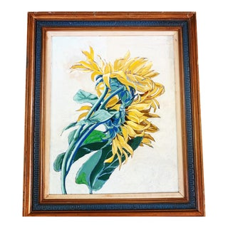 Large Midcentury Vibrant Sunflower Painting For Sale