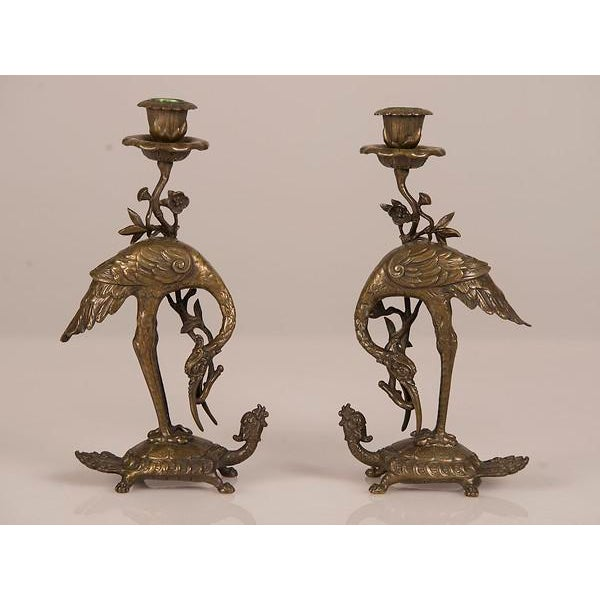 Bronze Crane on Turtle Pair Candlesticks, France c.1840.