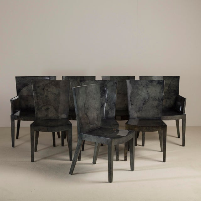 A Set of Six Grey Lacquered Goatskin Chairs 1980s Pair Carvers, Six Side Chairs. NB: These items are subject to a further...