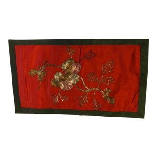 Vintage Metallic Embroidered Red Textile