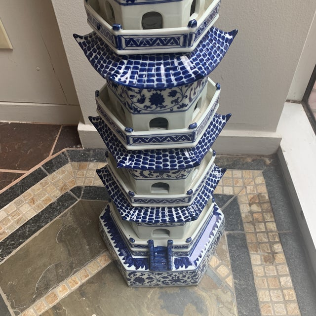 Chinese Chinese Pagoda Ceramic Statue For Sale - Image 3 of 13