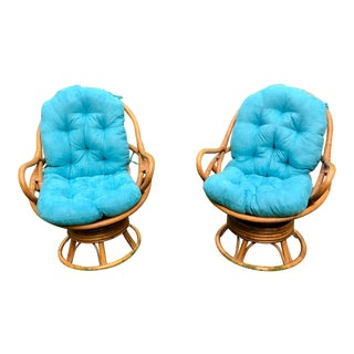 1960s Bamboo Papasan Swivel Lounge Chairs - A Pair For Sale
