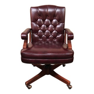 1980s English Traditional Oxblood Tufted Executive Chair