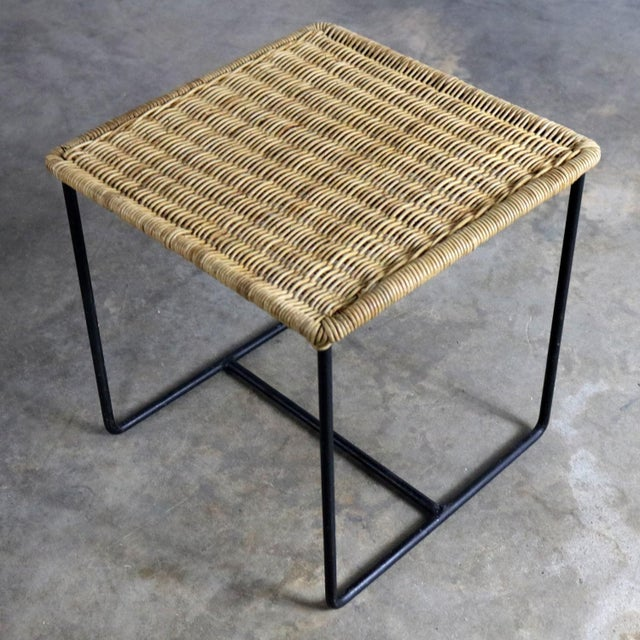 Tan Caif-Asia Style Wrought Iron and Rattan Side Tables - A Pair For Sale - Image 8 of 13