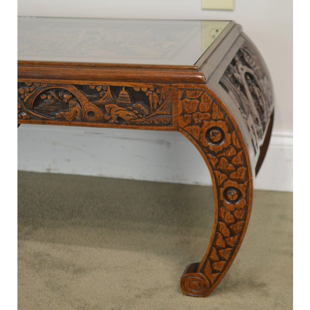 Vintage Oriental Asian Hand Carved Hardwood Coffee Table For Sale - Image 12 of 13
