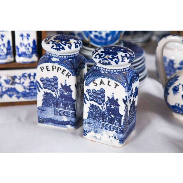 Traditional Vintage Collection of Blue and White Willow - Set of 40 For Sale - Image 3 of 12