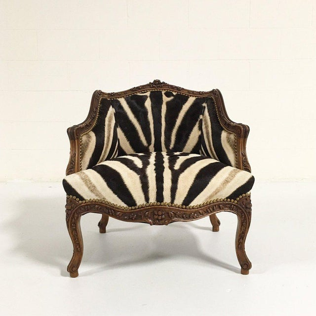 Vintage Carved Chair in Zebra Hide - Image 3 of 11