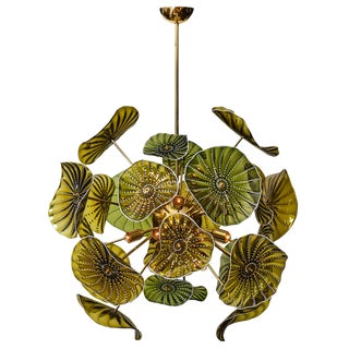Murano Glass Green Disc Chandelier For Sale