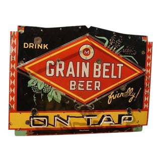 "1950s Porcelain Neon ""Drink Grain Belt Beer on Tap"" Sign"
