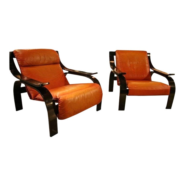 Pair of Marco Zanuso Armchairs in Leather for Arflex For Sale