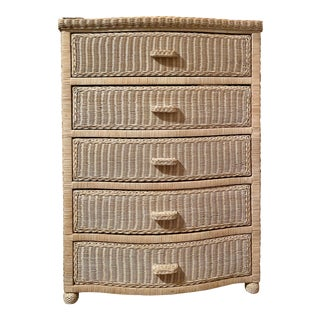 1950s White Wicker Dresser For Sale