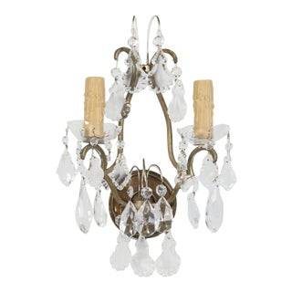 Single French Brass and Crystal Sconce For Sale
