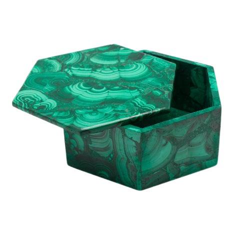 1970s Vintage Hexagonal Malachite Lidded Box For Sale