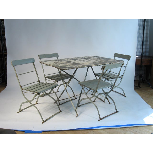 Gray Antique French Bistro Dining Set For Sale - Image 8 of 8