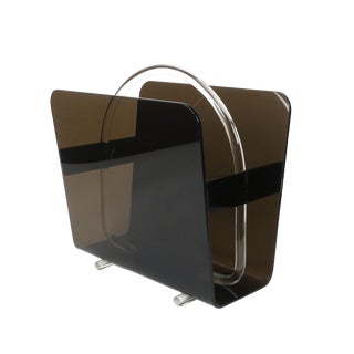 Mid-Century Modern Smoked Lucite Magazine Rack For Sale