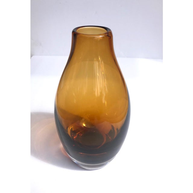 Vintage 1970s Scandinavian Modern Sommerso Glass Vase in Amber For Sale - Image 12 of 13