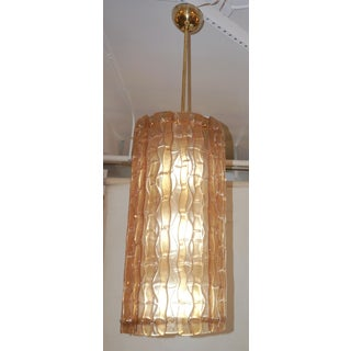 Italian Contemporary Amber Crystal Murano Glass Tall Brass Lantern / Chandelier Preview