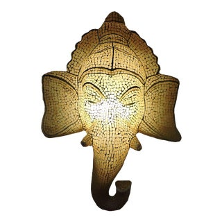 Mosaic Inlaid Glass Ganesh Lamp