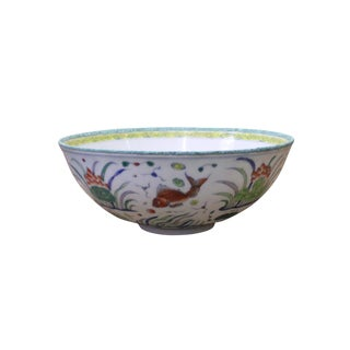 Chinese White Enameled Metal Flower Fishes Graphic Bowl Decor For Sale