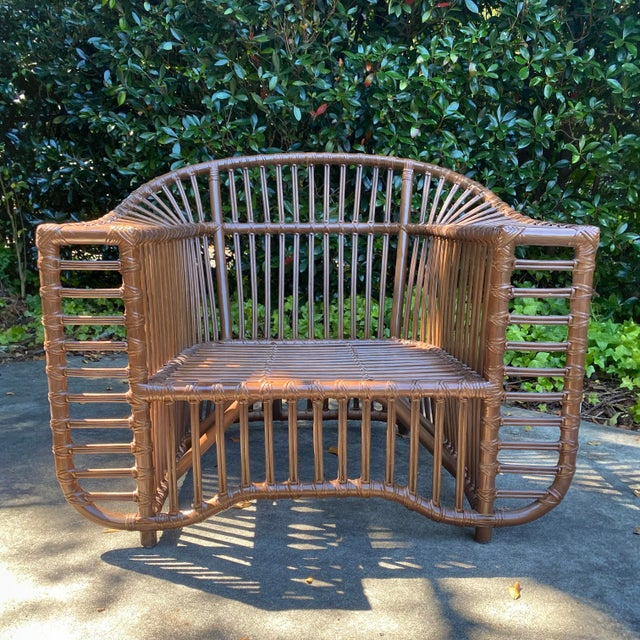 Henry Olko Style Rattan Club Chair For Sale - Image 4 of 10