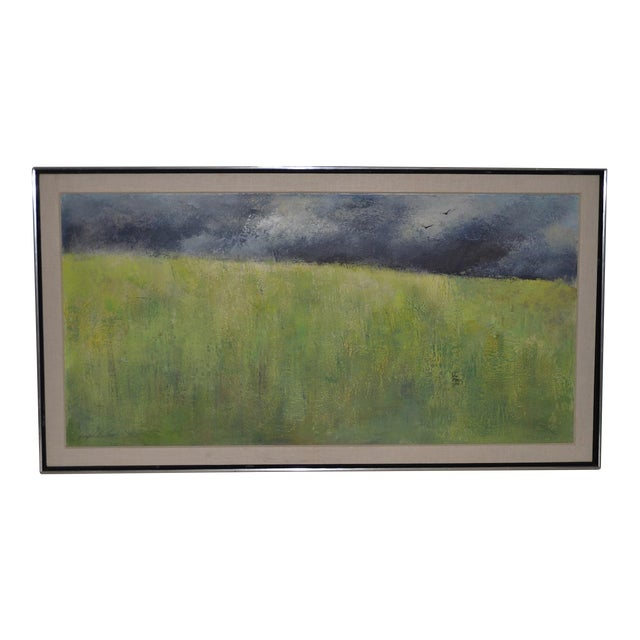 "Mid-Century Modern ""Wheatfield"" Oil Painting by Joseph Barber C.1960 For Sale"