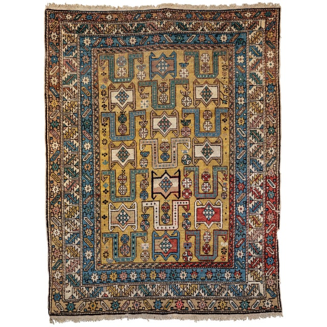 Shirvan 19th Century Caucasian Rug - 3′10″ × 4′10″ For Sale - Image 9 of 9