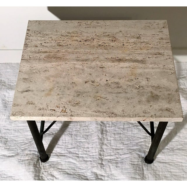 Travertine Indoor/Outdoor Side Table For Sale - Image 5 of 6