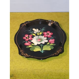 Mid 20th Century Russian Beriozka Hand Painted Serving Tray Flowers Tole Toleware Yeha 64 Preview