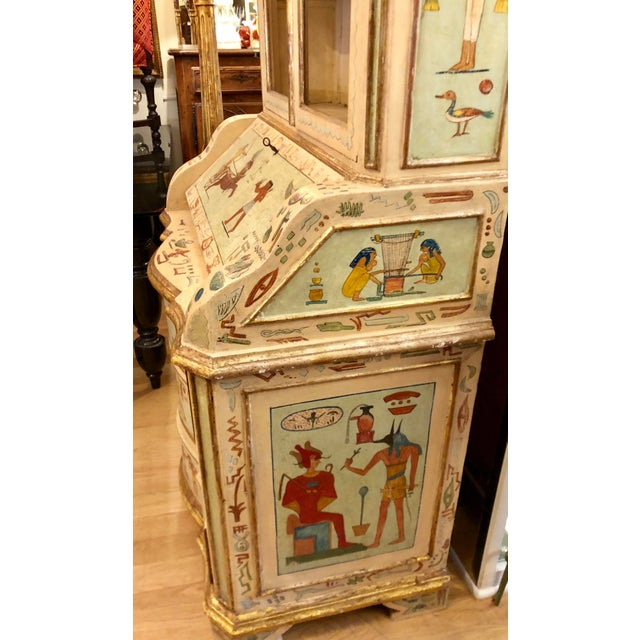 Paint Unusual Antique 19th C Egyptian Motif Paint Decorated Italian Secretary For Sale - Image 7 of 7