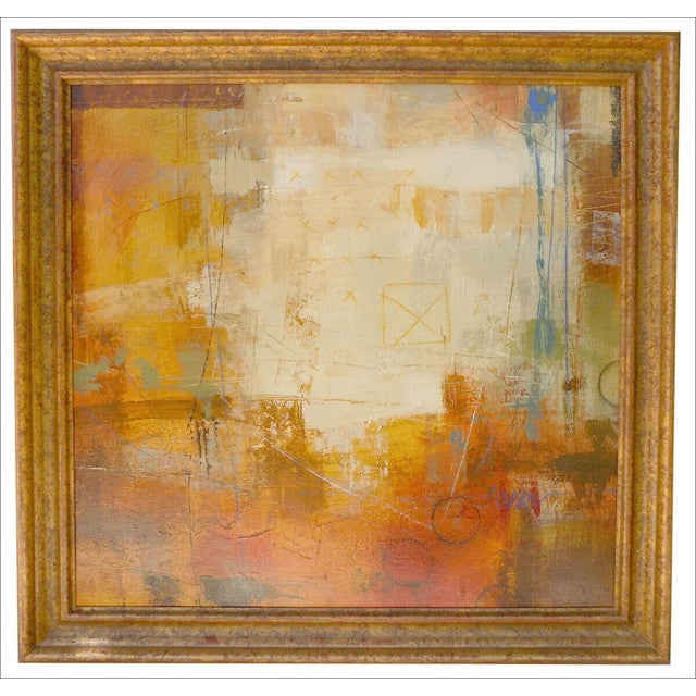 Striking Pair of Original Acrylic on Canvas Abstracts by Ursula J. Brenner. Interesting Composition with Overscribe....