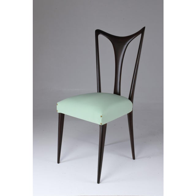 Green Italian Vintage Dining Chairs Attributed to Guglielmo Ulrich, Set of Six, 1940s For Sale - Image 8 of 13