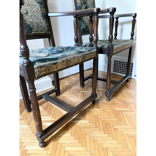 Charles II Revival 19th Century Walnut Arm Chairs With 17th Century Verdure Tapestry Upholstery - a Pair For Sale - Image 11 of 13