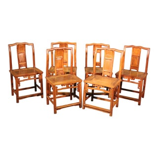 Set of 6 Six Asian Tan Su Style Chinese Camphor Wood Dining Chairs, Circa 1890s For Sale