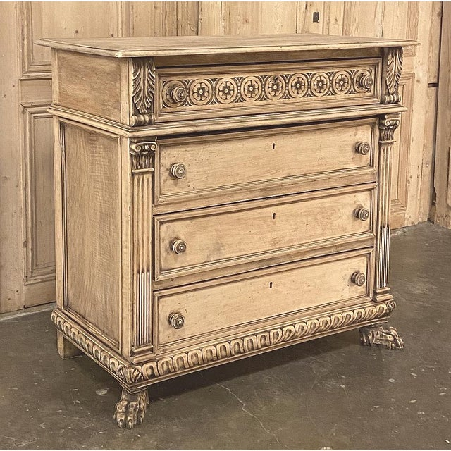 Antique Italian Renaissance Stripped Walnut Commode has been lovingly hand-carved by talented artisans with timeless...