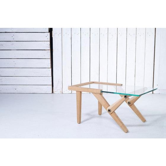Modern Modern Elm Wood & Glass Top Side Table For Sale - Image 3 of 7