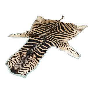 """Forsyth Zebra Hide Rug Trimmed in Blue Cotton Linen - 6'2"""" x 7'9"""" For Sale"""