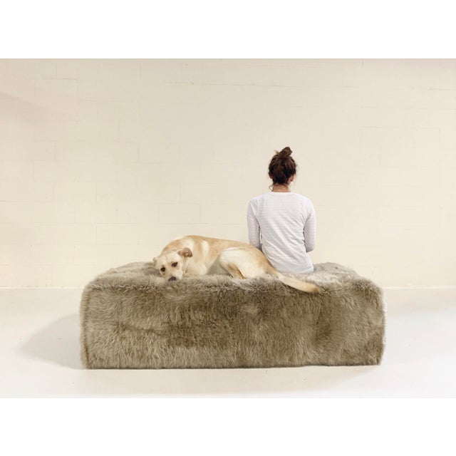 Forsyth Large Sheepskin Ottoman For Sale - Image 4 of 6