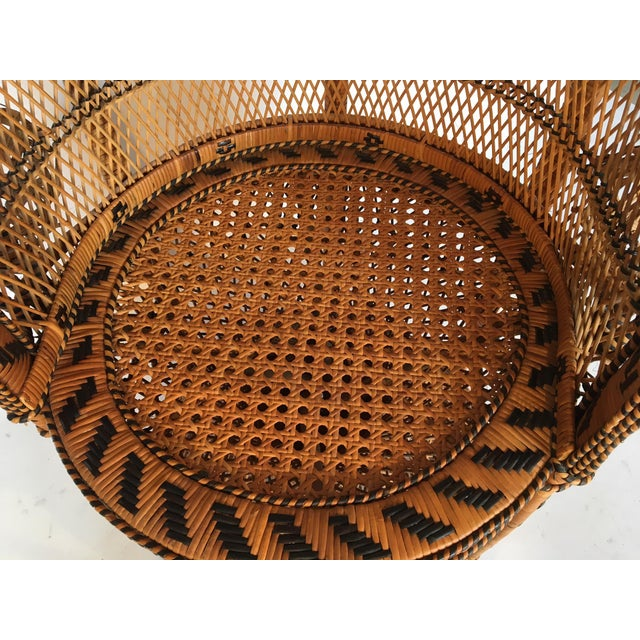 Rattan Vintage Emmanuelle Peacock Chair With Matching Ottoman For Sale - Image 7 of 11