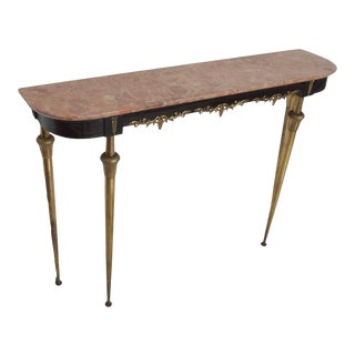 Italian Console Table With Bronze Legs and Rose Marble Top Hollywood Regency For Sale