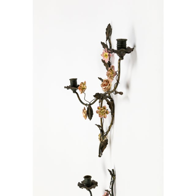 Metal Tole and Porcelain Floral Wall Hanging Candle Holders- A Pair For Sale - Image 7 of 13
