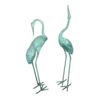 Vintage Bronze Whooping Cranes - a Pair For Sale