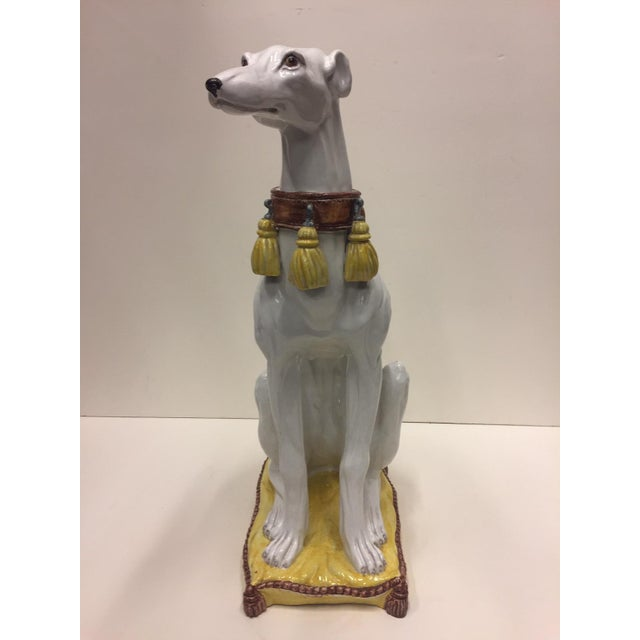 Glazed Terracotta Greyhound Sculpture For Sale - Image 10 of 13