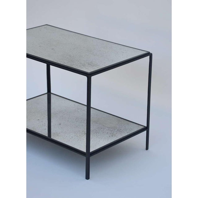DESIGN FRERES Contemporary Design Frères 'Rectiligne' Wrought Iron and Mirror End Tables - a Pair For Sale - Image 4 of 11