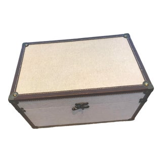 1990s Linen and Leather Trunk Box For Sale