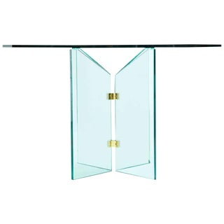 1970s Modern Pace Collection Brass and Glass Table For Sale