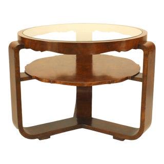 1940s Italian Burl Walnut Circular Coffee Table For Sale