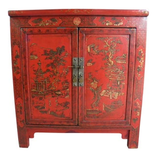 Red Lacquered Asian Cabinet